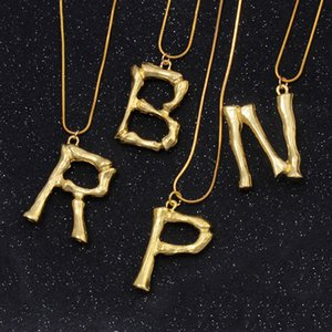 Gold Initial Necklaces Hip Hop Pendant Simple Exaggerated Lava Geometric Fashion 26 English Alphabets Letter Choker Jewelry Gifts for Women