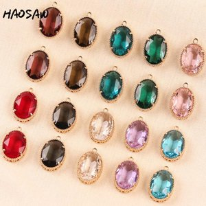 HAOSAW 15 * 23M 4Pcs / Lot Oval Design / Hollow Base / Ball Side / Crystal Charm / Jeweler Composition / DIY Jewely Making / Arket Findings