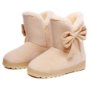 Hot Selling 1 Pair Women Snow Boots Warm Shoes Bowknot Plush Anti-slip for Winter Outdoor -B5