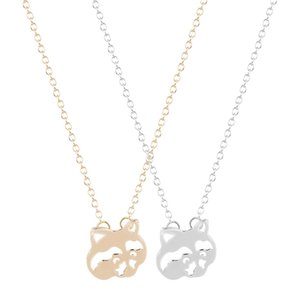 2019 New Raccoon Charm Necklace Pendant Women Lovely Animal Accessories Argento economico Collana economica Colliar