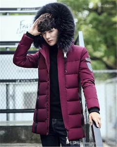 Long Sleeve Mens Casacos Moda cor sólida Masculino Parkas Com Zipper inverno de espessura Mens jaquetas com capuz