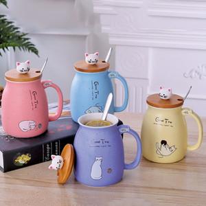 Tasses à café en céramique de mode de tasses de tasse de café de mode de tasse de dessin animé d'enfants de bande dessinée avec le couvercle
