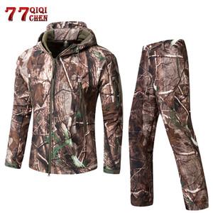 QIQICHEN Vêtements tactique Armée Hommes Camouflage Soft Shell extérieure Imperméable Jungle lurker Hunt Veste + Pantalon Costume