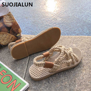 2019 New Rope Sandals Women's Summer Shoes Gladiator Beach Shoes Women Platform Sandals Lace Up Cross-Tie Flip Flops