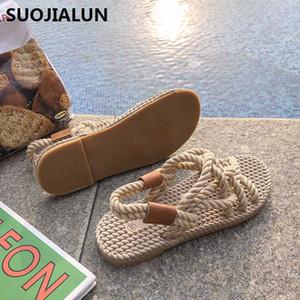 2019 neue Seil Sandalen Frauen Sommer Schuhe Gladiator Strand Schuhe Frauen Plattform Sandalen Lace Up Cross-Tie Flip Flops