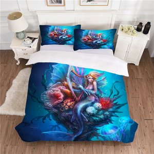 BEST.WENSD Cute Mermaid Bedding AB side Queen size Bedding sets Pretty blue comforter bedding-set-cover housse de couette 3d