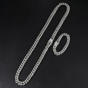 Iced Out Paved Rhinestones 1Set 13MM Gold Silver Full Miami Curb Cuban Chain CZ Bling Rapper Necklaces For Men Hip Hop Jewelry