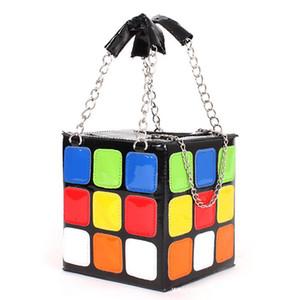 sac à main fourre-tout des femmes sac brique bloc vintage Designer- boîte magique cube arc-en-sac déjeuner sacs de soirée à carreaux célèbres - MF
