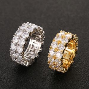 حجم 7-12 الهيب هوب 2 صف جولة الزركون خاتم سوليتير للتنس للرجال النساء الذهب الفضة الألوان