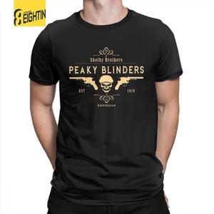 Peaky Blinders Camiseta Shelby Irmãos Novidade Em Torno Do Pescoço T-shirt Dos Homens de Manga Curta Branca 100% Algodão Roupas Incríveis Y19072201