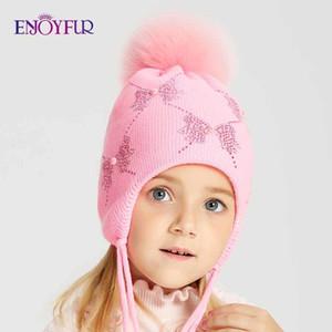 ENJOYFUR inverno della pelliccia di Fox Pompom scherza il cappello Ragazze strass Bow-Knot modello Berretti calda lavorata a maglia di autunno dei bambini Caps MX191130