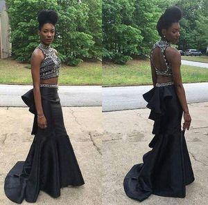 Col montant Noir Slim Sirène Robes de bal perles en cristal Deux Piece Black Girls Party Robes de soirée Occasion spéciale Parti Robes Top Vente