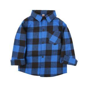 Çocuk Eğlence Gömlek Nötr Klasik Giyim Yaka Düğme Ekose Gömlek Uzun Kollu Fırçalı Pamuk Ekose Gömlek 61