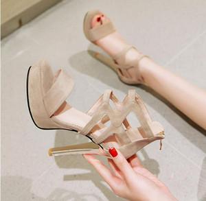 크기 33-42 (43) 베이지 색 스웨이드 크로스 끈으로 높은 하이힐 sandalias 검투사 여성 샌들 패션 명품 디자이너 여성 신발