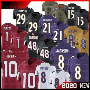 0 DeAndre Hopkins Cardinal Jersey 48 Yeşaya Simmons 1 Kyler Murray 8 Lamar Jackson Markiz Kahverengi Raven Marka Ingram II