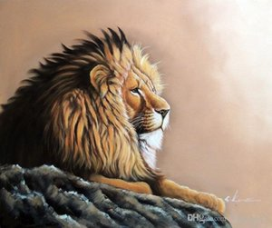 Retrato Emoldurado masculino novo Lion Resting Africa Safari selvagem, pintura a óleo pintado à mão Genuine Animal Art Modern Museum Quality multi tamanho J63!