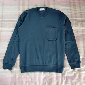 Avrupa Tişörtü Cep Crewneck Sweatshirt Cep Yuvarlak Yaka Moda Rahat Rahat Erkek Tişörtü HFWPWY283