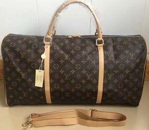 Высокое качество вещевой мешок женщины дорожные сумки ручной клади роскошные дизайнерские дорожные сумки мужчины искусственная кожа сумки большой крест тела сумка тотализаторы 55см