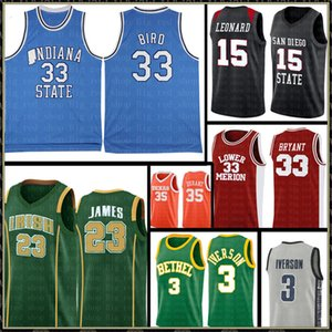 NCAA 33 Brid Indiana State University Jersey LeBron James 23 Kawhi Leonard 15 Allen Iverson 3 13 Harden Basketball Maillots