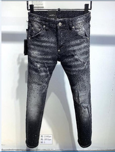 NEW Mens Fashion Designer Ripped Jeans Retro Black Badge Washed Biker Denim Pants Hip Hop Distressed Trousers 887