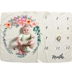 102 * 152 cm de fondo bebé recién nacido Milestone Mantas fotografía apoya la foto del bebé infantil Contextos el número estampado de flores de Manta aC BH0746
