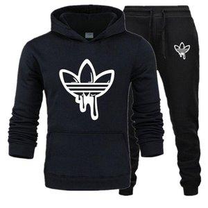 Uomini Tuta Moda Felpa + pantaloni della tuta Abbigliamento Uomo 2 pezzi nero bianco grigio blu Imposta grigio Tuta nuova ADI