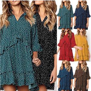Frauen-Sommer-Mode-Polka-Punkt-Druck-Kleid mit V-Ausschnitt Hot Sell Female Fashion Kleidung 7 Farben