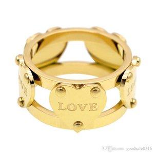 Fresh and Elegant Temperament Heart Love Love Double Hollow Heart Heart Ring Titanium Steel 18K Rose Gold Ring Gift