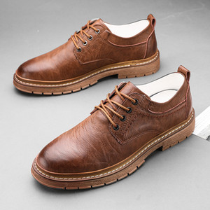 Autumn Men casual Shoes Brogue Men Genuine Leather Shoes Business Casual Sneakers oxford flats shoes for mens brown *V-923