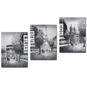 Dipinti a olio di arte nero Handmade Wall Art per il salone di Parigi su tela europea Street View 3 pannelli