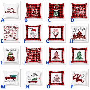 Xmas Pillow Case Plaid Merry Christmas Cushion Covers Christmas Tree Deer Truck Cushion Home Party Decorative 16 styles HH9-2501