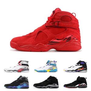 2020 Sale Quai 54 South Beach Bianco Aqua Raid Rosso 8 VII 8s mens pattini di pallacanestro Giorno Chrome uomini PACK COUNTDOWN San Valentino Sneakers Sport