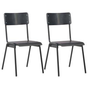 Cadeiras de jantar 2 Unidades de madeira compensada e Black Steel Pátio Bancos