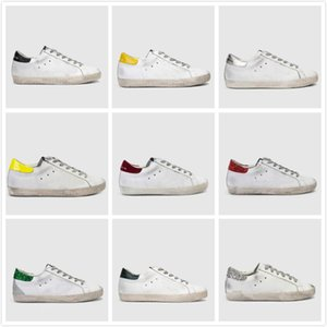 Uomo Donna Moda vecchio stile sneakers in pelle Genuine Villous Derma pattini casuali Mens E Donne d'Oro Superstar scarpe Trainer formato 36-46