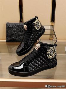 Годовой Высочайшее качество роскошный дизайн мужские случайные высокого верха обуви благородный темперамент моды кожа мужчины размер не скользит 38-45