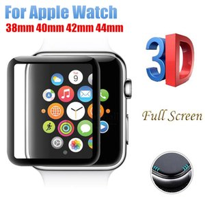 Cristal curvo de cubierta completa curvo 3D para Apple Watch 38mm 42mm 40mm 44mm Serie Protector de pantalla Película protectora