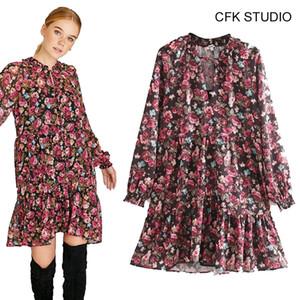 des femmes CFK v-cou floral robe de coton à manches longues imprimé 2019 nouveau automne rose lâche minirobe parti occasionnel