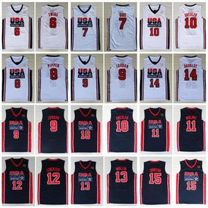1992 Equipe dos EUA Basketball Jerseys Sonho Larry Bird Michael Patrick Ewing Scottie Pippen Clyde Drexler John Stockton Charles Barkley Johnson