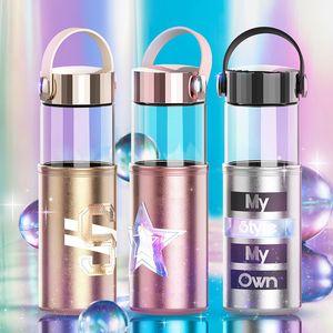 300ml Bouteille en verre d'eau Flacon en verre avec personnalisé Anti-échaudage Tissu Bouteille Couverture de levage en silicone portable bouteille en verre