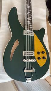 RIC 4005 Dark Metallic Green Semi Hollow Body Electric Bass Guitar Maple Body, Dual Checkerboard Binding, золото накладку Анкерный стержень крышки