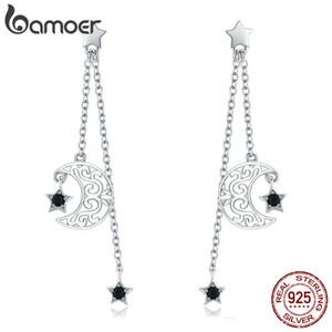 Bamoer Trendy New 925 Sterling Silver Star And Moon Cadena Larga Pendientes de Gota Para Mujeres Negro Cz Joyería de Plata Esterlina Sce528 C19041101