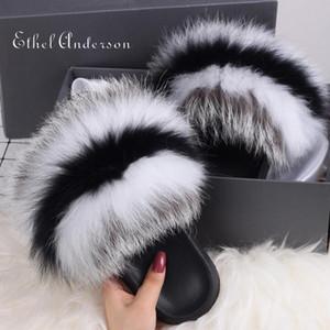 ETHEL ANDERSON New Luxury Fur Slide Echt Waschbär-Pelz-Hausschuhe Frauen Heim Fluffy Sliders Frauen Mode Plüsch Fluffy Slides