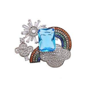 Nouveau 3A Cubique Zircone Arc-En-Broche Broche Broche Haute Qualité Femmes Bijoux Robe Sac Chapeau Accessoires HR2393