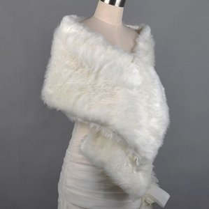 Ivory Women's Shawl Wrap Faux Fur Wedding Bridal Shawl Coat New