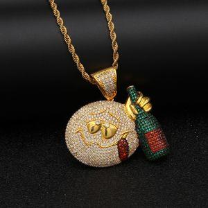 """Ледяной Emoji лицо с бутылкой вина кулон ожерелье золото серебро цвет кубический циркон мужской хип-хоп ювелирные изделия бесплатно 24 """"цепь"""