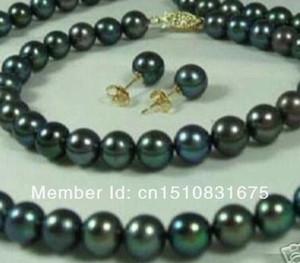 Серебряные подарочные слова Любовь Женщины Мода Ювелирные Изделия 7-8 мм Чернокольятные Жемчужные Ожерелья Браслеты Серьги SetXU82 Серьги
