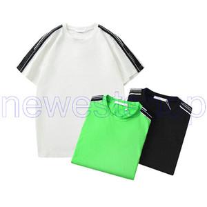 Yaz paris Lüks Yüksek Kaliteli Tasarımcı Casual tişört tişörtleri giyim basit harf baskı patchwork çizgili tişört Moda T gömlek mens