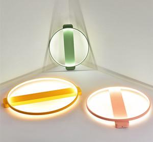 Modern LED luzes de teto casa Macaron luminárias de teto do quarto das crianças lâmpadas de iluminação parede Nordic Ferro Redonda