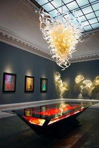 Yüksek Tavan Gömme Montaj Kristal avizeler Sanat Galerisi Uzun Modern Tavan Dekoratif El Cam Sanatı Dekor Üflemeli