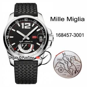 Nouveau GT XL Réserve de marche Autoamtic Mens Watch 168457-3001 Classic Racing Boîtier en acier cadran noir Pneus bracelet en caoutchouc noir Puretime C03a1